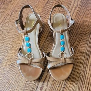 Nicole Turquoise and Gold Sandals